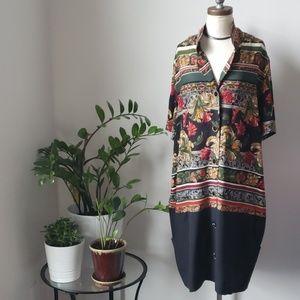 Vintage Italian Floral Print Button Down Dress